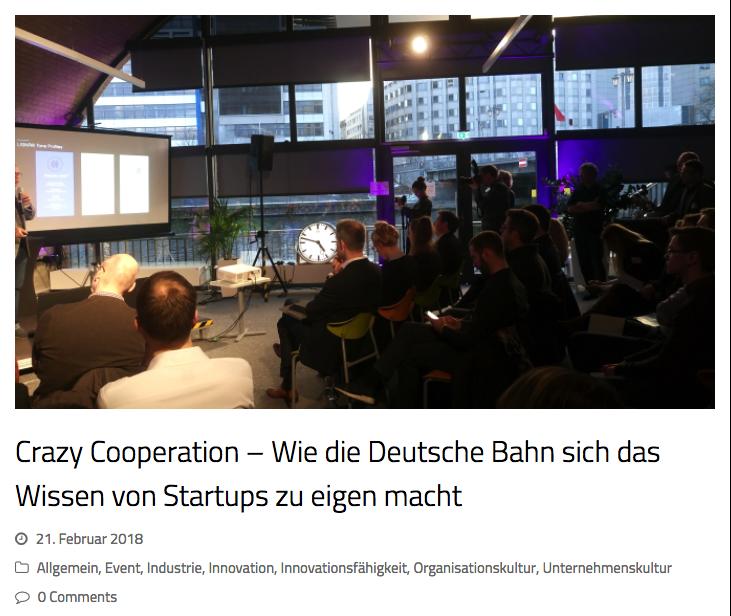 Artikel über Die Win Win Kollaborationen Von Startups Wie Geospin Und Unternehmen Wie Der Deutschen Bahn