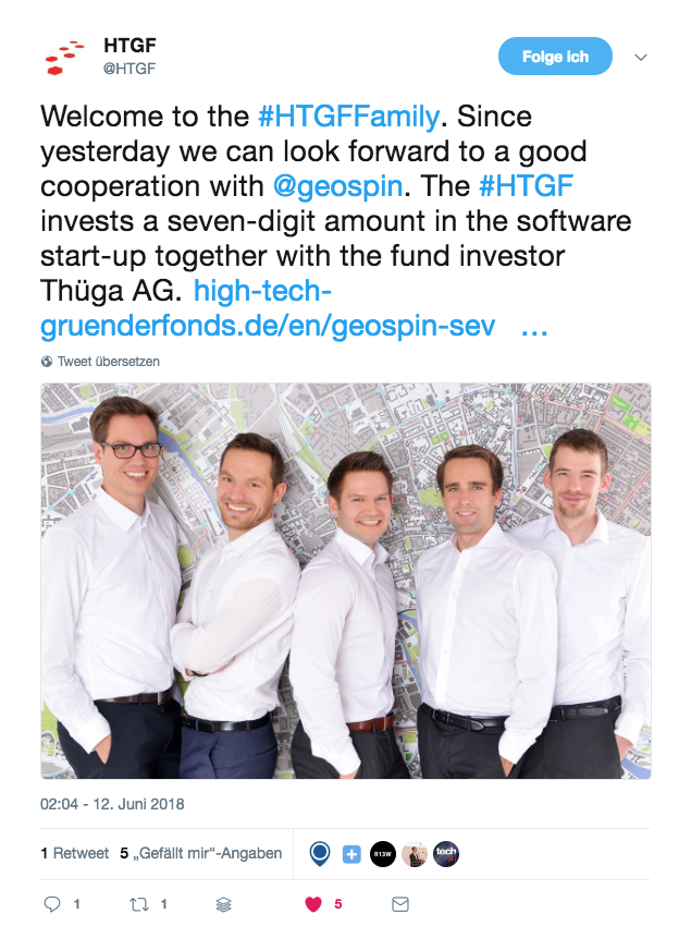 HTGF Twitter Post About Seed Funding