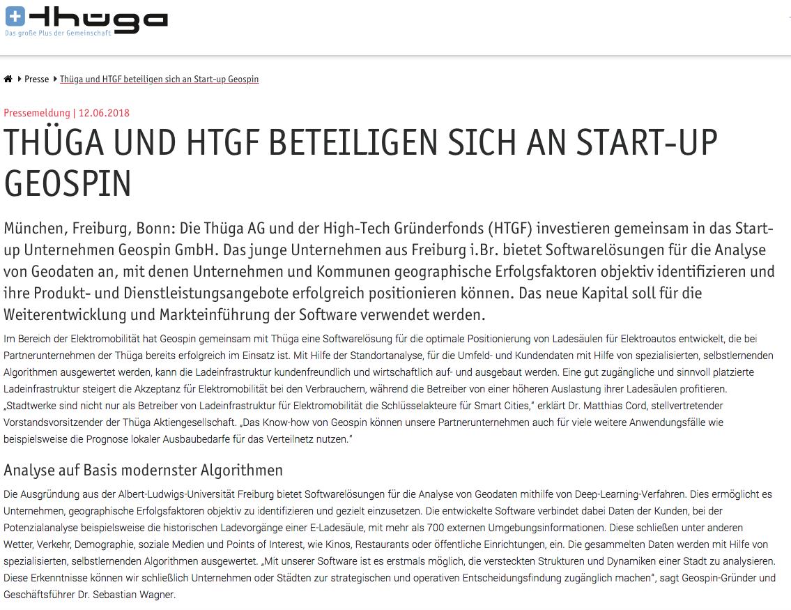 Presseartikel Der Thuega Aktiengesellschaft über Seed Funding