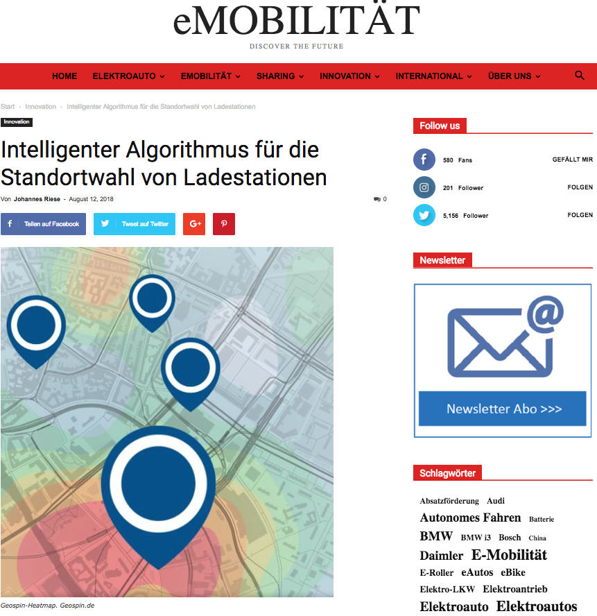 Latest Article About Geospin Published In EMobiliät By Johannes Riese
